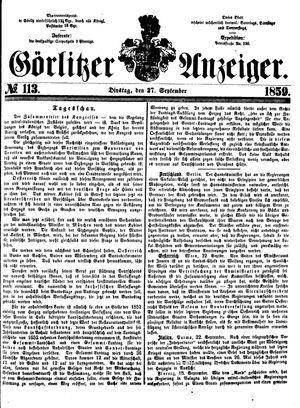 Görlitzer Anzeiger vom 27.09.1859