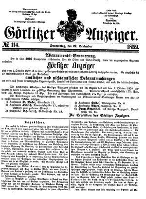 Görlitzer Anzeiger vom 29.09.1859