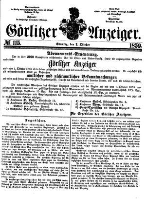 Görlitzer Anzeiger vom 02.10.1859