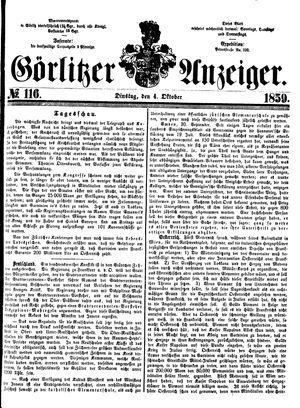 Görlitzer Anzeiger vom 04.10.1859
