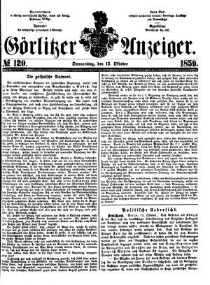 Görlitzer Anzeiger vom 13.10.1859