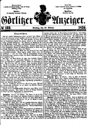 Görlitzer Anzeiger vom 18.10.1859