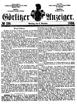 Görlitzer Anzeiger vom 06.11.1859