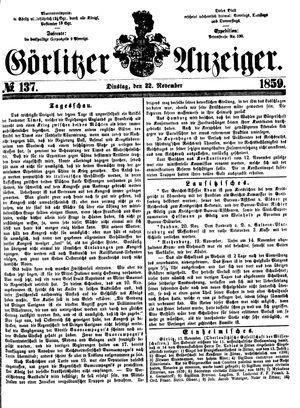 Görlitzer Anzeiger vom 22.11.1859