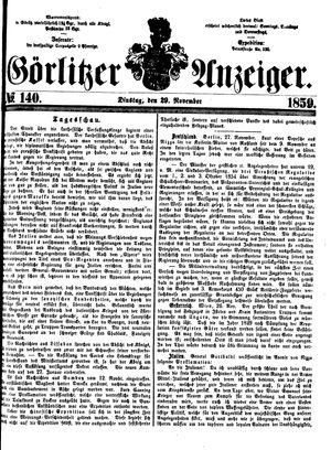 Görlitzer Anzeiger vom 29.11.1859