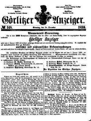 Görlitzer Anzeiger vom 18.12.1859