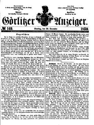 Görlitzer Anzeiger vom 20.12.1859