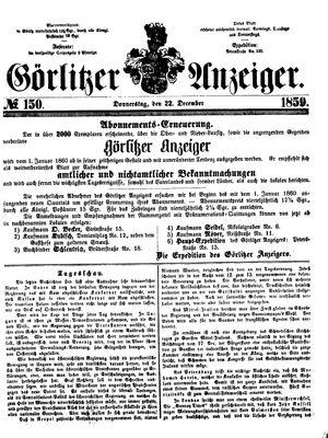 Görlitzer Anzeiger vom 22.12.1859