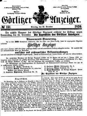 Görlitzer Anzeiger vom 25.12.1859