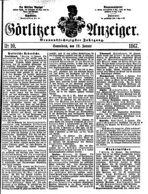 Görlitzer Anzeiger vom 12.01.1867
