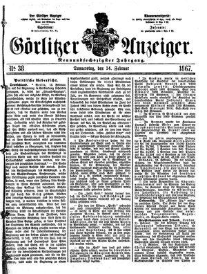 Görlitzer Anzeiger on Feb 14, 1867