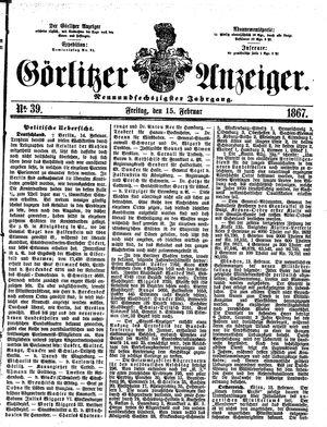 Görlitzer Anzeiger vom 15.02.1867