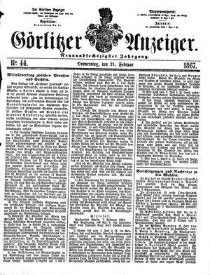 Görlitzer Anzeiger vom 21.02.1867