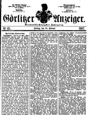 Görlitzer Anzeiger vom 22.02.1867