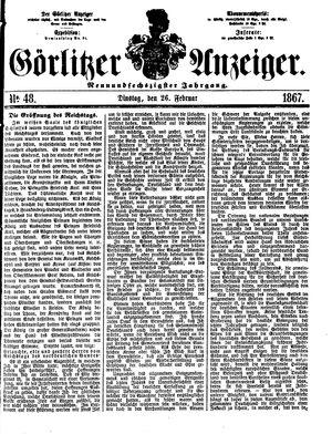 Görlitzer Anzeiger vom 26.02.1867