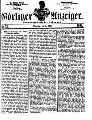 Görlitzer Anzeiger vom 03.03.1867