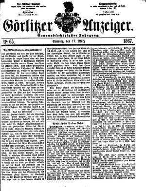 Görlitzer Anzeiger vom 17.03.1867