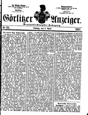 Görlitzer Anzeiger vom 09.04.1867