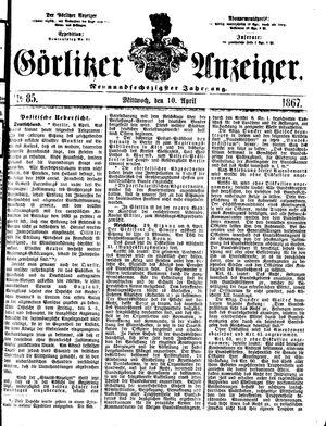 Görlitzer Anzeiger vom 10.04.1867