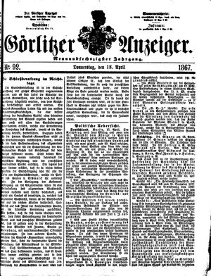 Görlitzer Anzeiger vom 18.04.1867