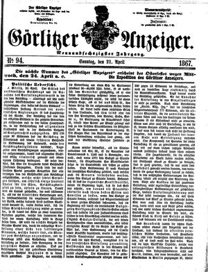 Görlitzer Anzeiger vom 21.04.1867