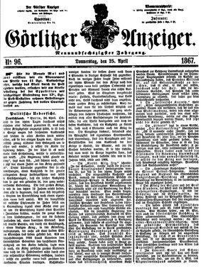 Görlitzer Anzeiger vom 25.04.1867