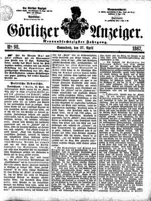 Görlitzer Anzeiger vom 27.04.1867