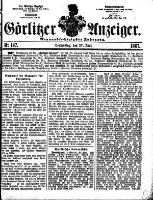 Görlitzer Anzeiger vom 27.06.1867