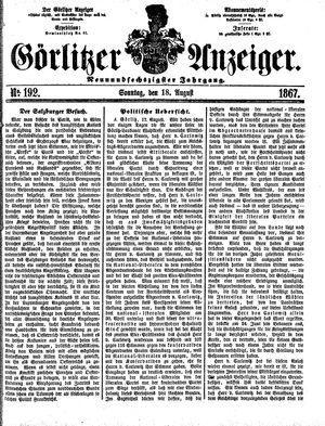 Görlitzer Anzeiger vom 18.08.1867
