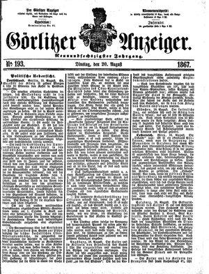 Görlitzer Anzeiger vom 20.08.1867