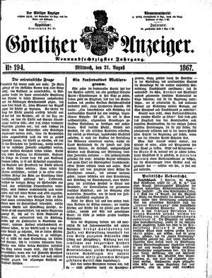 Görlitzer Anzeiger on Aug 21, 1867