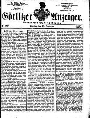 Görlitzer Anzeiger vom 15.09.1867