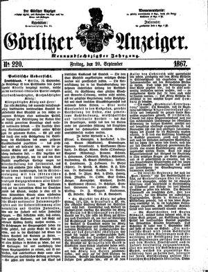 Görlitzer Anzeiger vom 20.09.1867