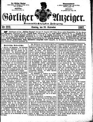 Görlitzer Anzeiger vom 22.09.1867