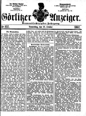 Görlitzer Anzeiger vom 10.10.1867