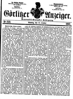 Görlitzer Anzeiger vom 13.10.1867