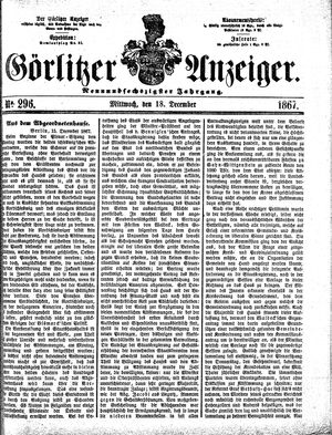 Görlitzer Anzeiger vom 18.12.1867