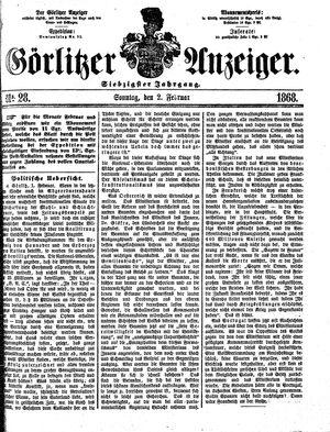 Görlitzer Anzeiger vom 02.02.1868