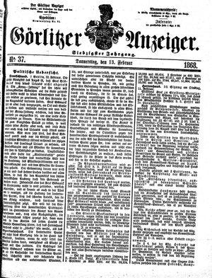 Görlitzer Anzeiger vom 13.02.1868