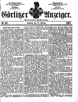 Görlitzer Anzeiger vom 16.02.1868