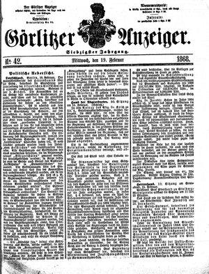 Görlitzer Anzeiger vom 19.02.1868