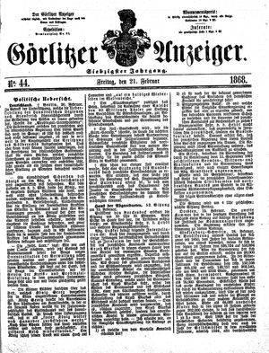 Görlitzer Anzeiger vom 21.02.1868