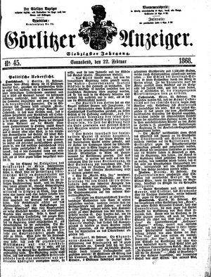 Görlitzer Anzeiger vom 22.02.1868