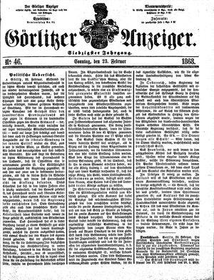 Görlitzer Anzeiger vom 23.02.1868