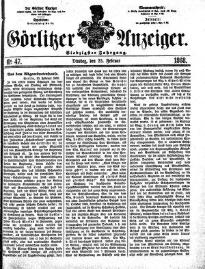 Görlitzer Anzeiger vom 25.02.1868