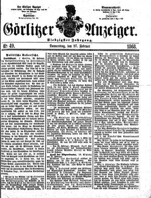 Görlitzer Anzeiger vom 27.02.1868