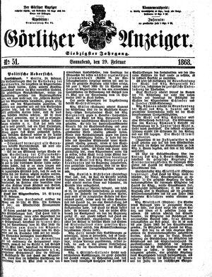 Görlitzer Anzeiger vom 29.02.1868