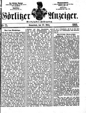 Görlitzer Anzeiger on Mar 28, 1868