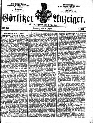 Görlitzer Anzeiger vom 07.04.1868