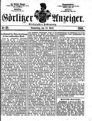 Görlitzer Anzeiger vom 16.04.1868